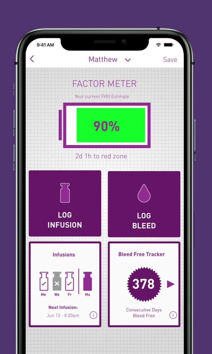 The myPKFiT® for ADVATE® [Antihemophilic Factor (Recombinant)] mobile app can help your patients stay engaged with their treatment plan.